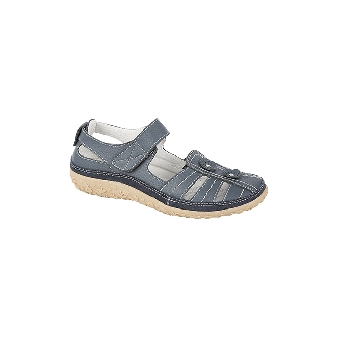 Boulevard RHEA Ladies Leather Flower Velcro Sandals Navy