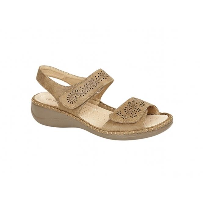 Boulevard DARCY Ladies Faux Leather Velcro Halter Back Sandals Tan