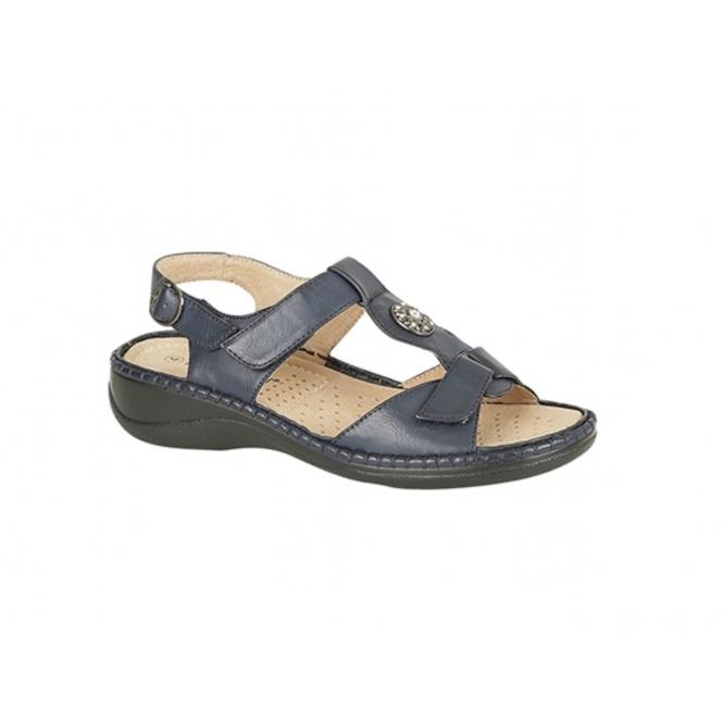 Boulevard GRACIE Ladies Faux Leather Velcro Halter Back Sandals Navy