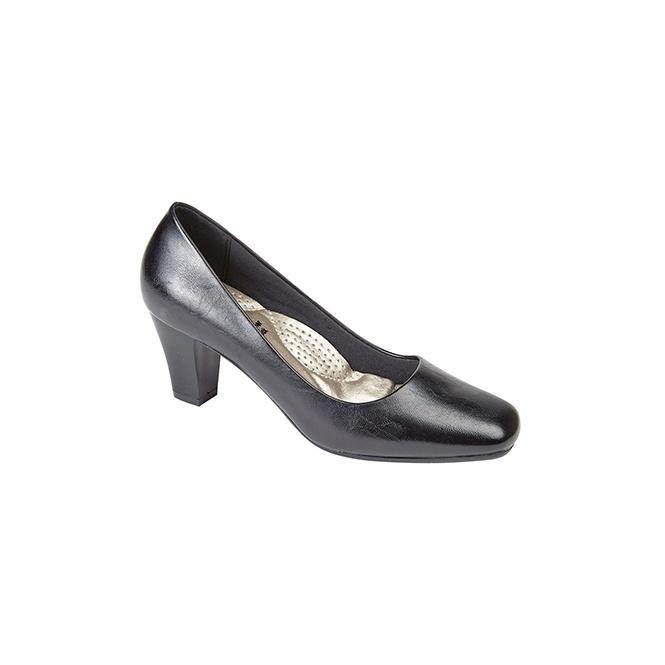 Boulevard HANNAH Ladies Simple Mid Heel Court Shoes Black