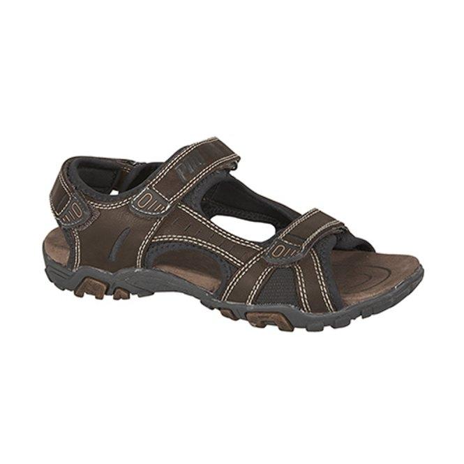 PDQ SAM Mens PU Velcro Sports Sandals Brown