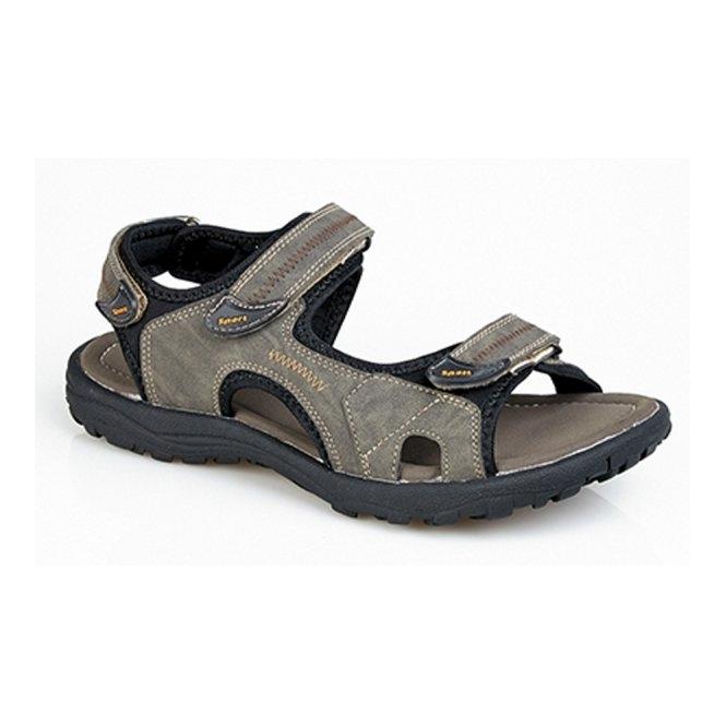 PDQ CARL Mens Faux Nubuck Velcro Sports Sandal Brown