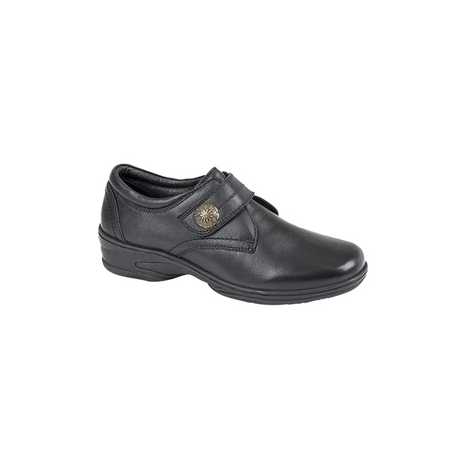 Mod Comfys KYLIE Ladies Touch Fasten Soft Leather Shoes Black