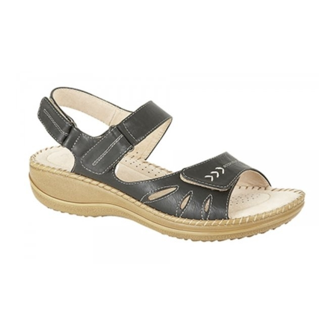 Boulevard MOLLY Ladies Velcro Halter Back Sandals Black