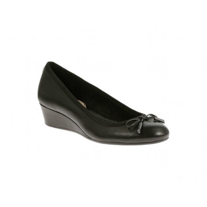 Hush Puppies HALA CANDID Ladies Wedge Heel Pump Shoes Black
