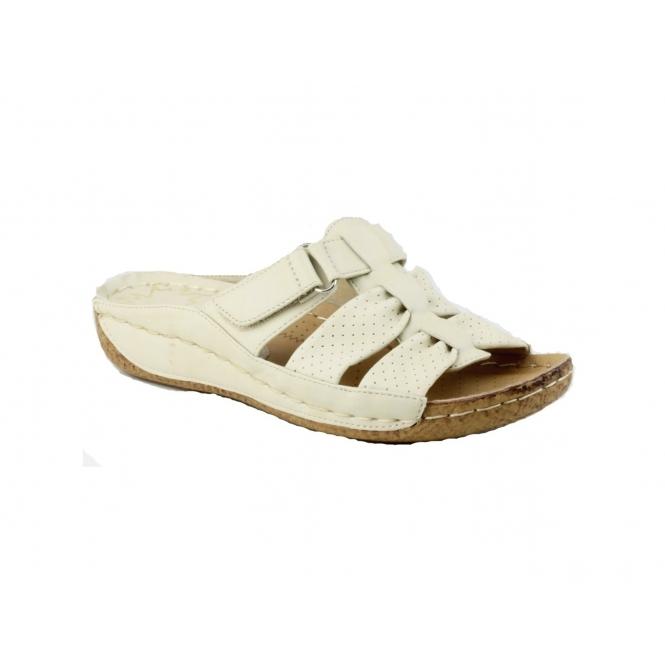 Divaz AMUSA Ladies Slip-On Velcro Mule Sandals Beige