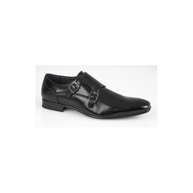 Route 21 BRANDEN Mens Twin Buckle Monk Shoes Black