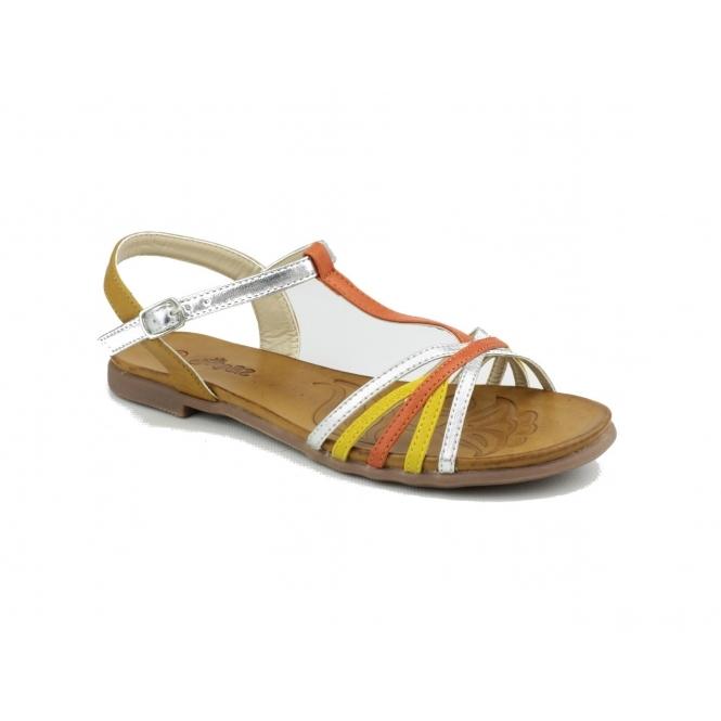 Divaz CHER Faux Leather Halter Back Sandals Orange