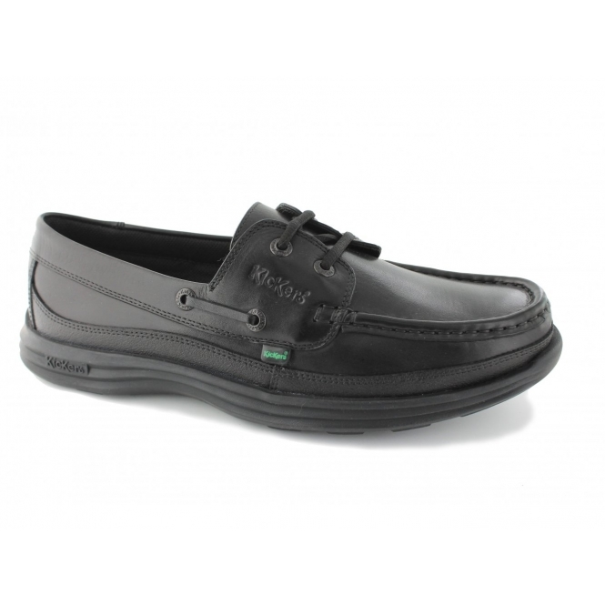 Kickers REASAN BOAT Mens Leather Deck Shoes Black