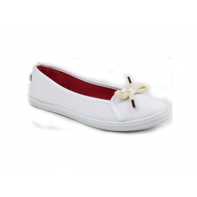 Divaz LOPEZ Ladies Canvas Ballerina Plimsolls White