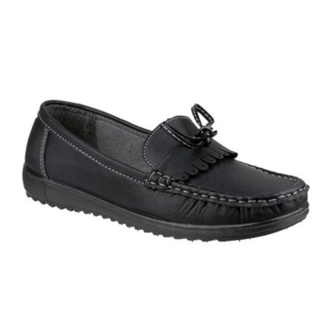 Amblers ELBA Ladies Slip On Fringe Casual Loafers Black