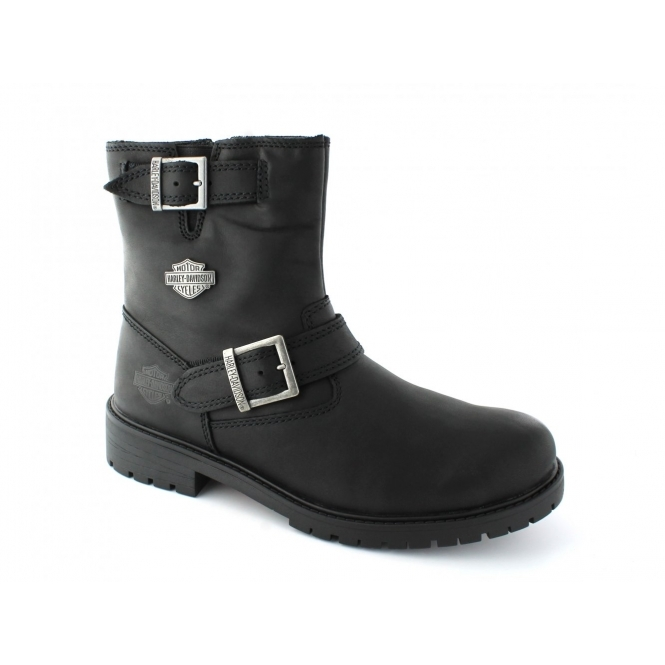 Harley Davidson PAXTON Mens Wide Leather Zip Buckle Boots Black