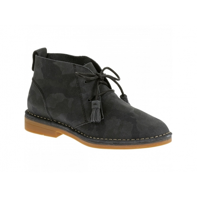 Hush Puppies CYRA CATELYN Ladies Suede Desert Boots Black Camo