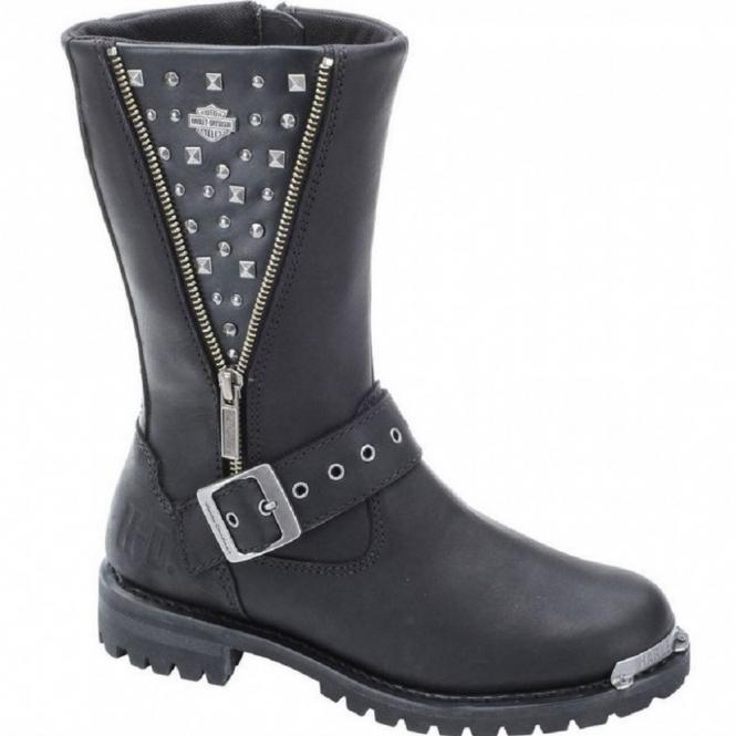 Harley Davidson TANYA Ladies Leather Studded Biker Boots Black