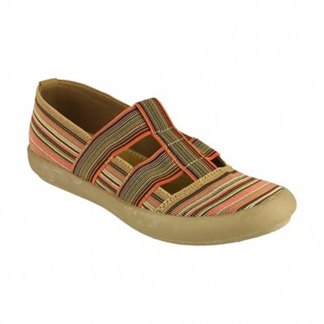 Cotswold CROMPTON Ladies Canvas Slip-On Shoes Taupe