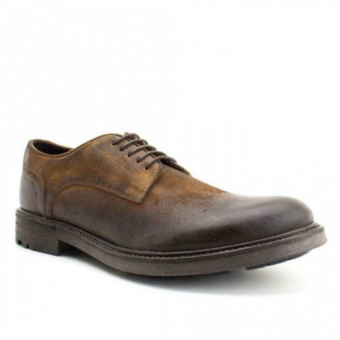 Base London NITROGEN Mens Derby Shoes Greasy Suede Tan