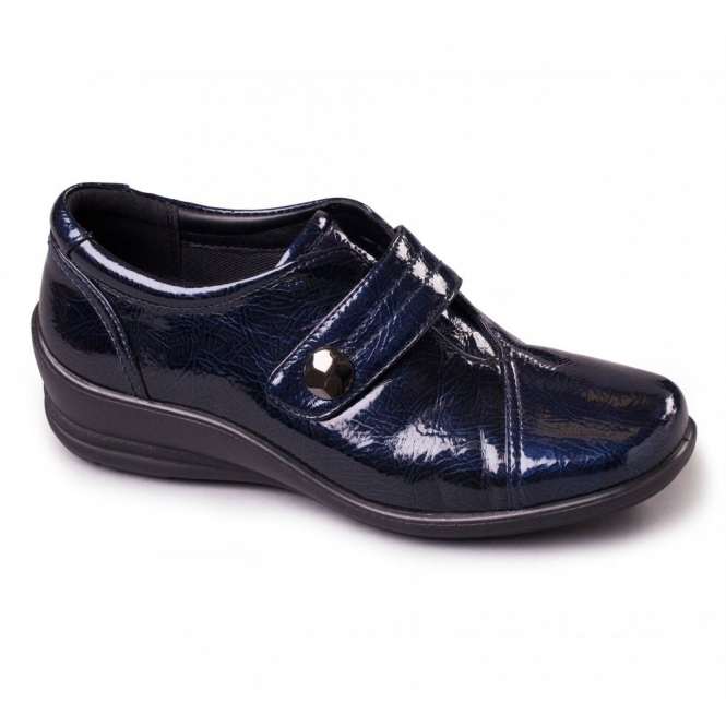 Padders SIMONE Ladies Patent Velcro E/EE Dual Wide Shoes Navy