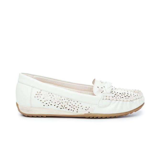Natrelle STEFANIE Ladies Faux Leather Slip-On Shoes White