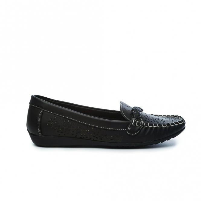 Natrelle STEFANIE Ladies Faux Leather Slip-On Shoes Black