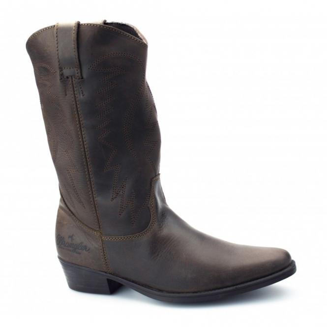 Wrangler TEXAS HI Mens Calf Length Leather Cowboy Boots Dark Brown