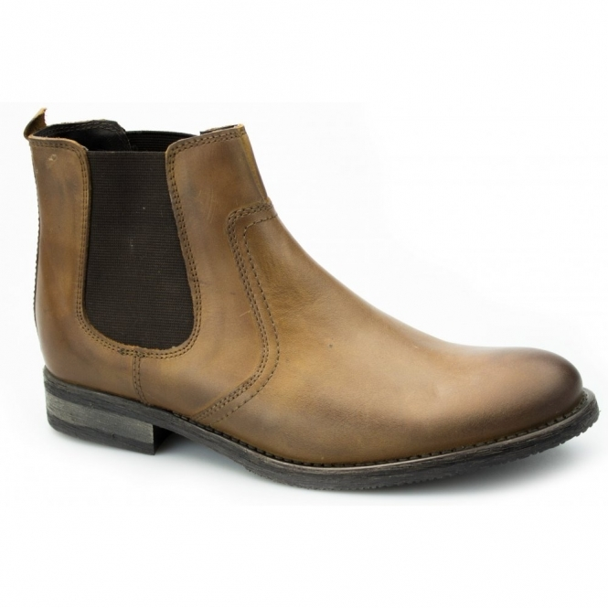 Ikon POWELL Mens Distressed Leather Chelsea Boots Tan
