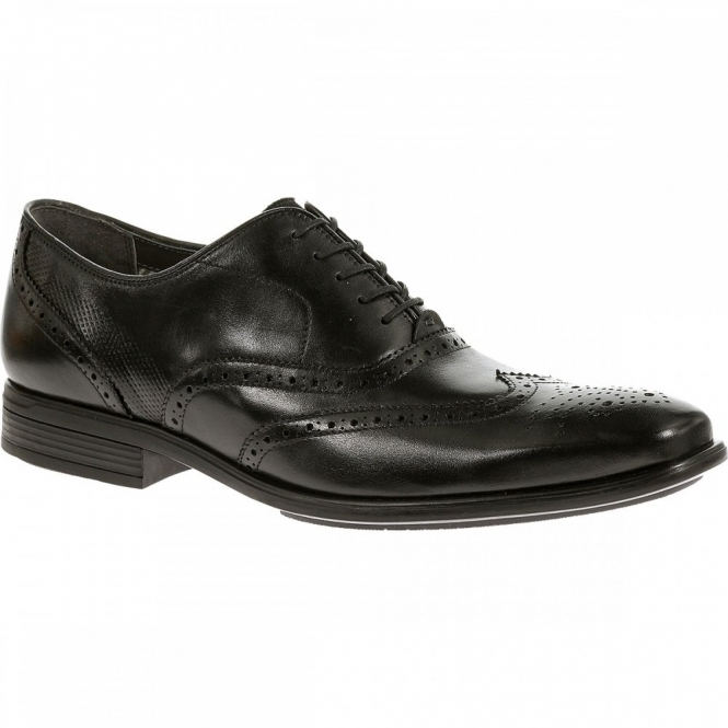 Hush Puppies GRIFFIN MADDOW Mens Leather Oxford Brogue Shoes Black