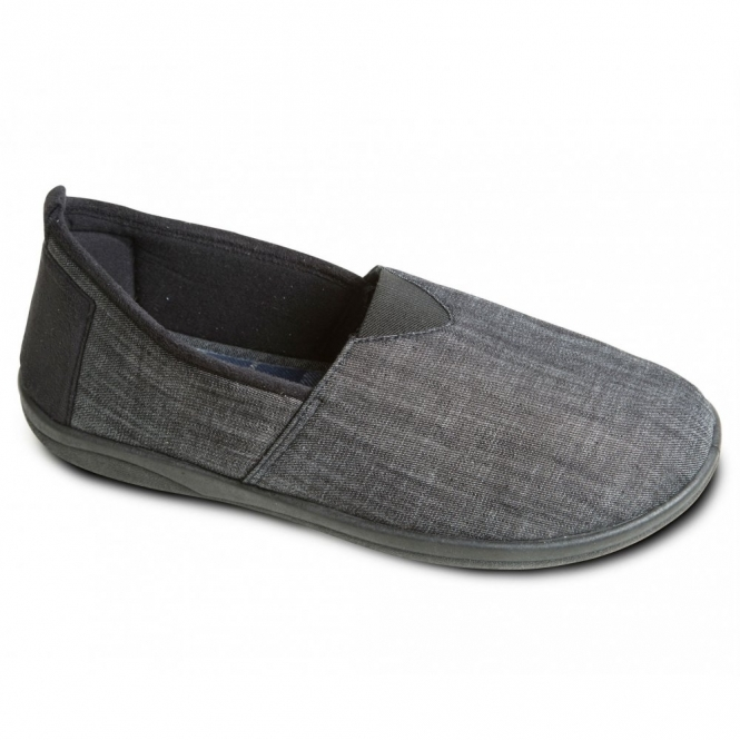 Padders BLAKE Mens Canvas/Microsuede Wide Fitting Full Slippers Black