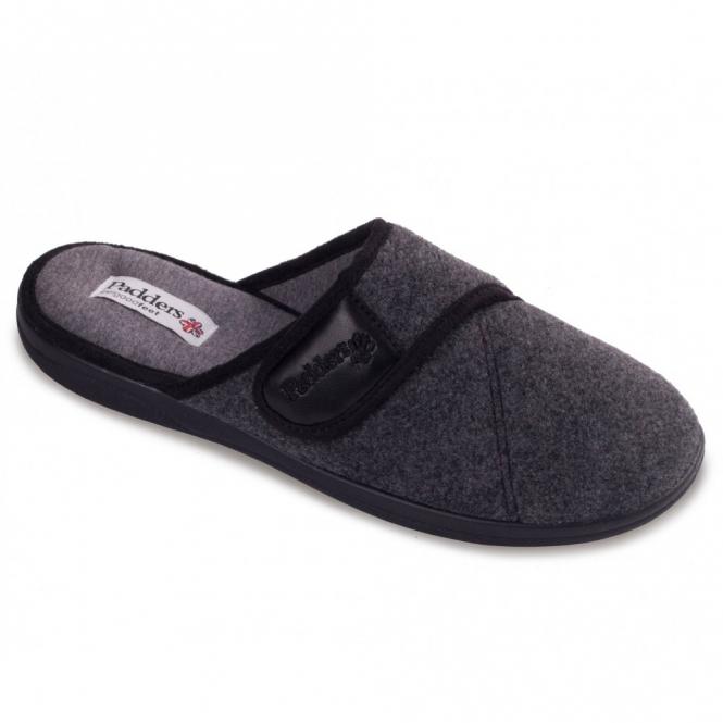 Padders BAXTER Mens Felt Wide Fit Velcro Mule Slippers Grey