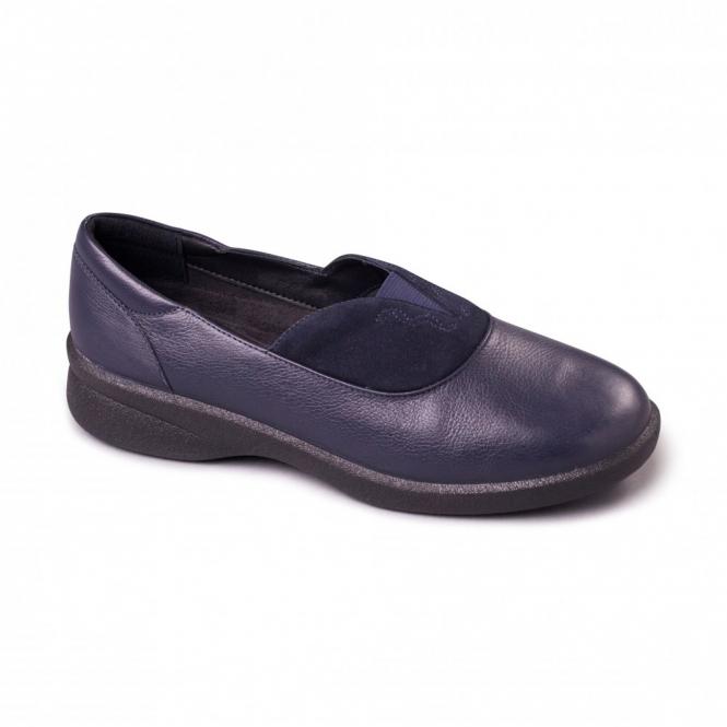 Padders LAUREN Ladies Leather EEE/EEEE Extra/Super Wide Shoes Navy