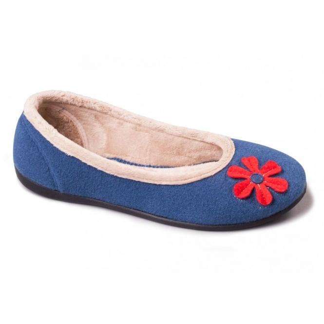 Padders HAPPY Ladies Felt Wide (E) Fitting Ballerina Slippers Blue