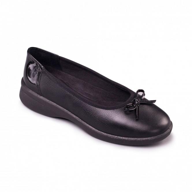 Padders LUCY Ladies Leather EEE/EEEE Extra/Super Wide Ballerina Shoes Black