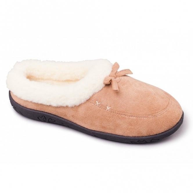 Padders SNUG Ladies Microsuede Extra Wide Fit Slippers Camel