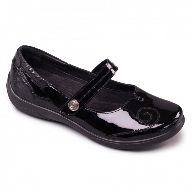 Padders LYRIC Ladies Extra/Super Wide Mary Jane Shoes Black