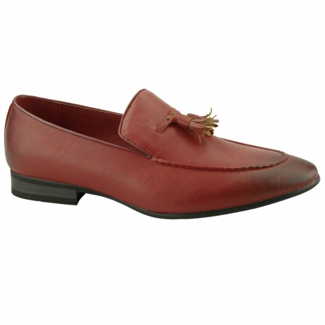 Giovanni LUIGI Mens Faux Leather Tassel Loafers Red