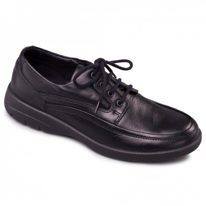 Padders FIRE Mens Leather Lace-Up Comfort Shoes Black