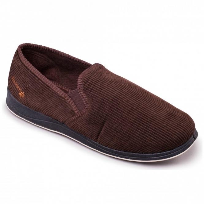 Padders ALBERT Mens Corduroy Wide Fit Full Slippers Brown