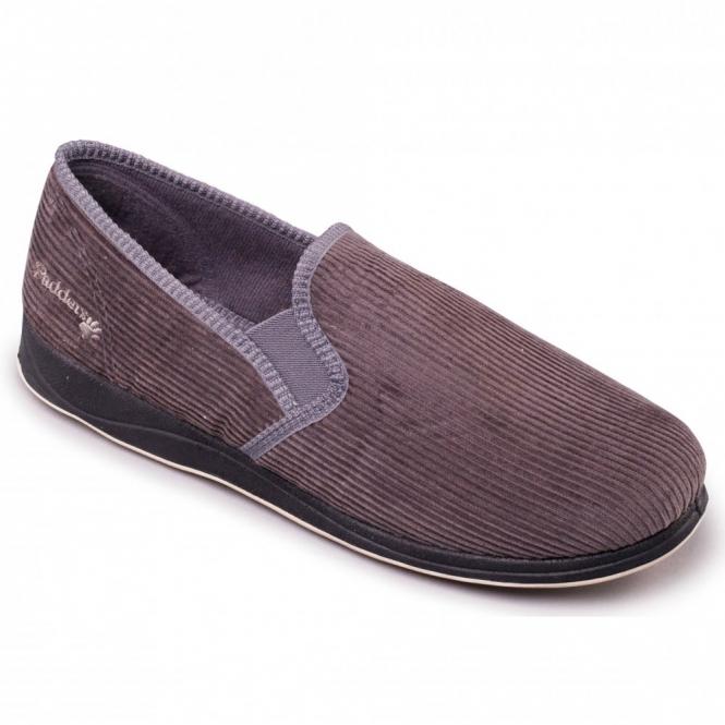 Padders ALBERT Mens Corduroy Wide Fit Full Slippers Grey