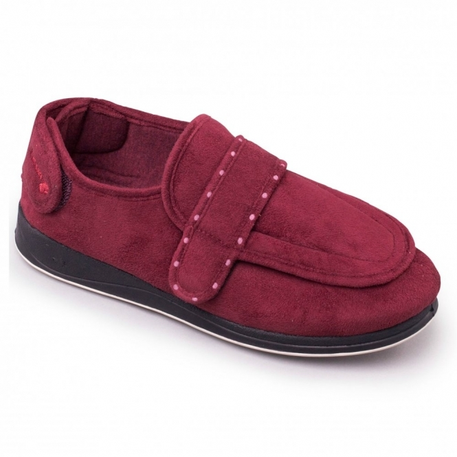 Padders ENFOLD Ladies Velcro Extra Wide Fit (EE) Slippers Burgundy