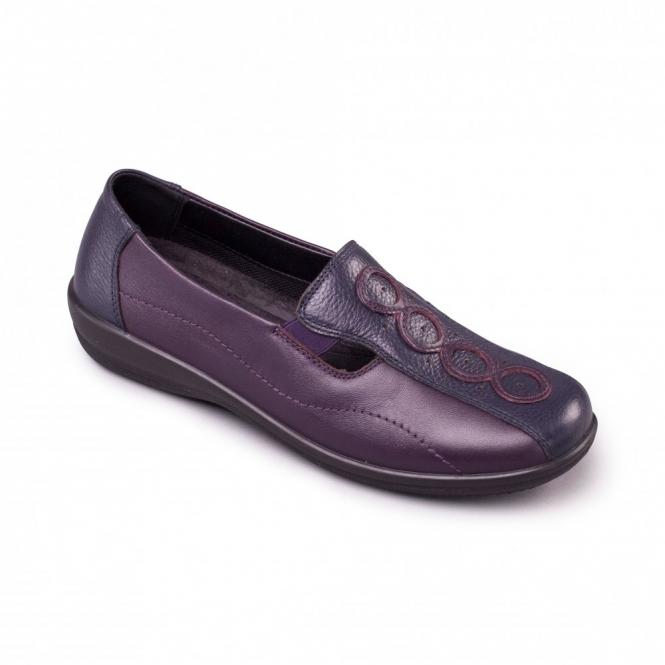 Padders ADORA Ladies Leather EE/EEE Wide Fit Loafers Navy