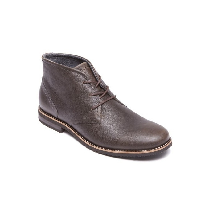 Rockport LEDGE HILL 2 Mens Lace Leather Chukka Boots Dune