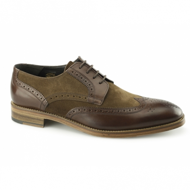 John White BOSWELL Mens Leather/Suede Brogues Brown