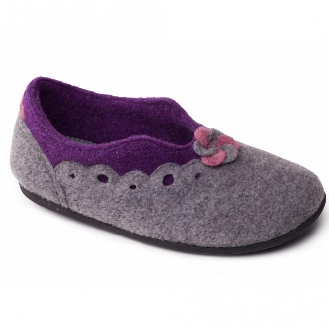 Padders HANNAH Ladies Felt Wide Fit Slippers Grey/Purple