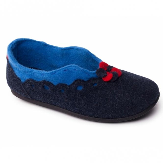 Padders HANNAH Ladies Felt Wide Fit Slippers Navy/Blue