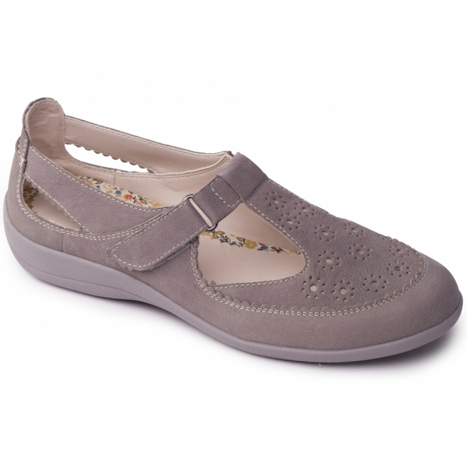 Padders DAISY Ladies Leather Extra Wide Velcro Shoes Grey