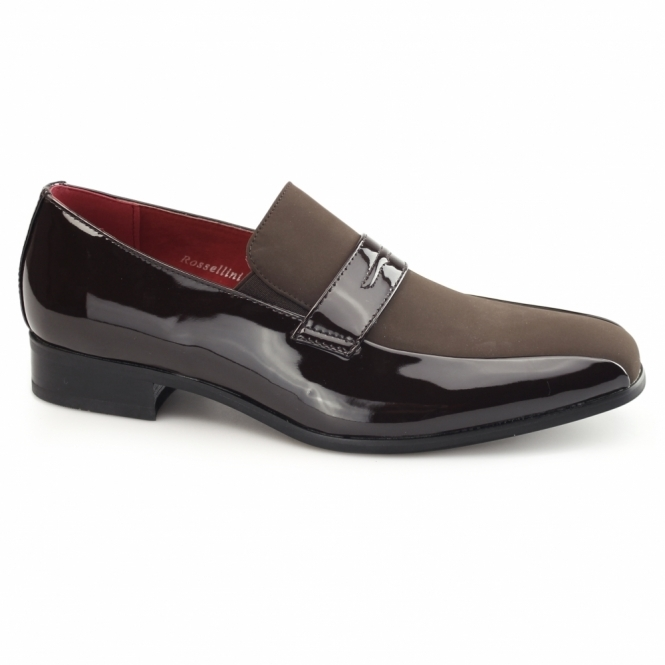Rossellini MONZESE Mens Patent Faux Leather Loafers Brown