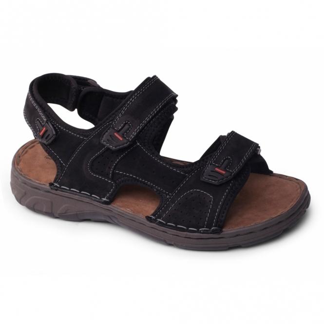 Padders OCEAN Mens Leather Velcro Sports Sandals Black