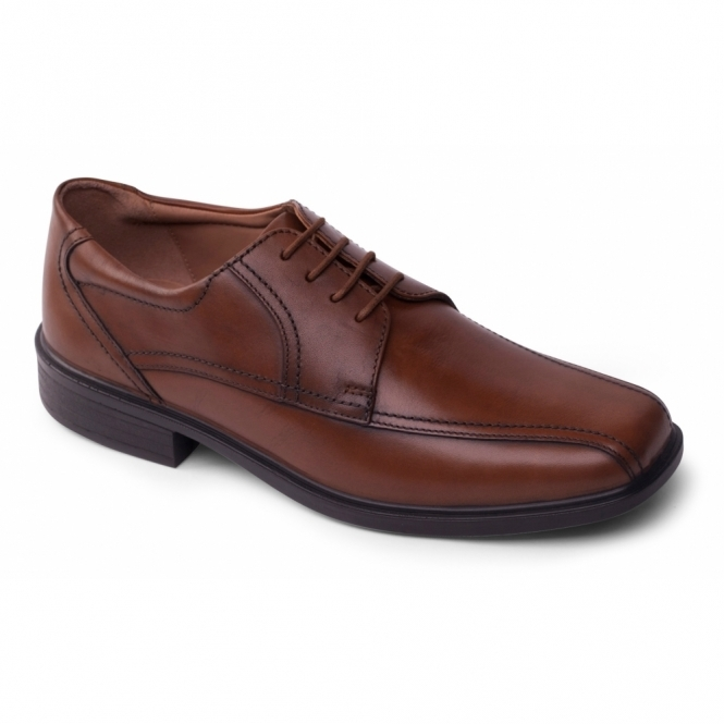Padders ASTON Mens Leather Lace Wide Shoes Light Tan