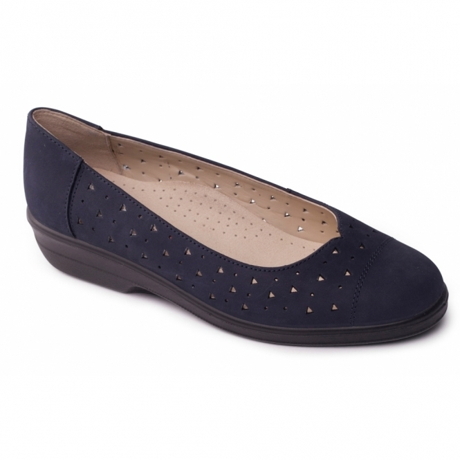 Padders FAYE Ladies Extra Wide Leather Pumps Navy