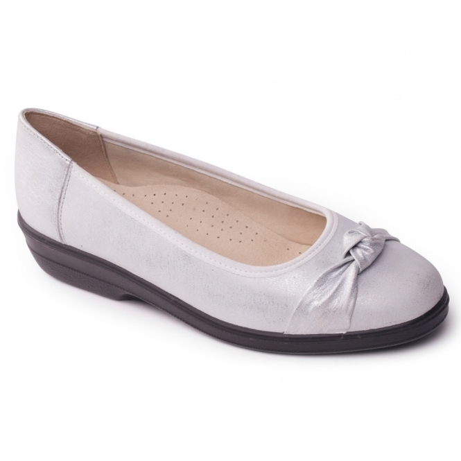 Padders FIONA Ladies Leather Extra Wide Pumps Silver
