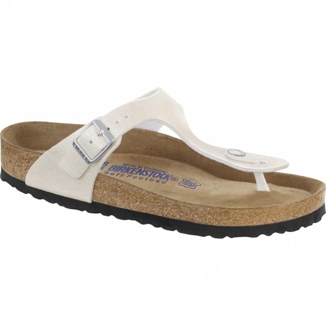 Birkenstock GIZEH Ladies Glitter Buckle Toe Post Sandals White
